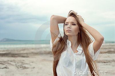 Sexy young girl with long hair
