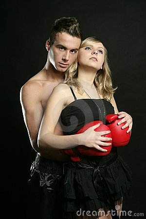 Free Sexy Young Male Boxer With Blond Beautiful Girl Stock Photo - 8411910