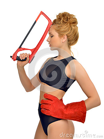 Free Sexy Young Red Hair Woman Construction Contractor Worker Face Wi Stock Photo - 53794070