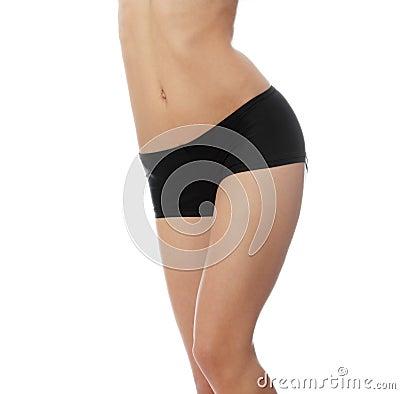young woman in black panties