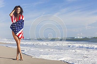 sexy young woman girl american flag beach 27269340