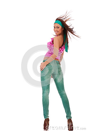 Free Sexy Young Woman In Jeans And High Heels Shoes Stock Photo - 25949670