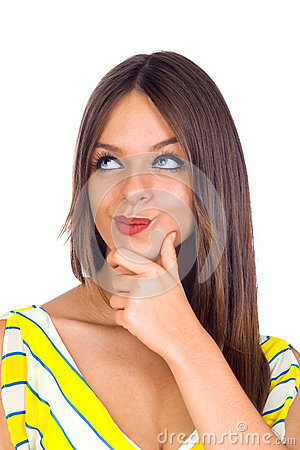 Sexy Young Woman Thinking with Finger on Chin