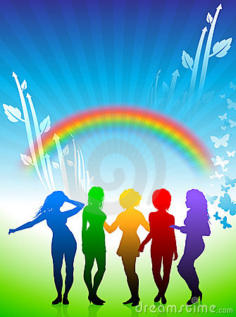 Sexy young women dancing on rainbow background