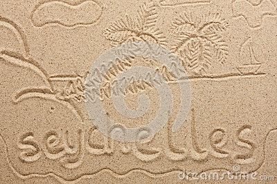Seychelles handwritten from  sand
