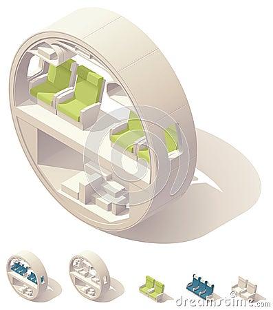 Sezione trasversale isometrica della cabina di aerei for Planimetrie della cabina di log