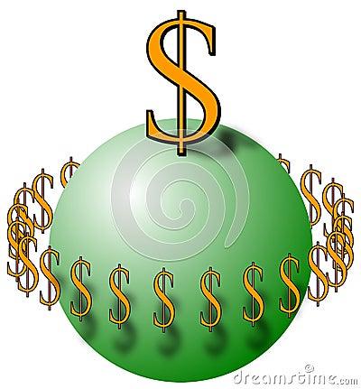 Sfera con i simboli di dollaro