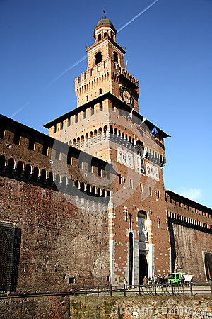 Sforza Castle in Milan, Italy Editorial Stock Photo