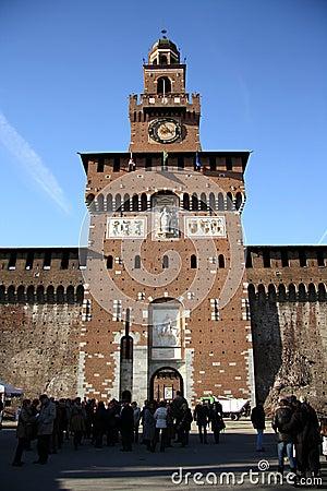 Sforza Castle in Milan, Italy Editorial Stock Photo