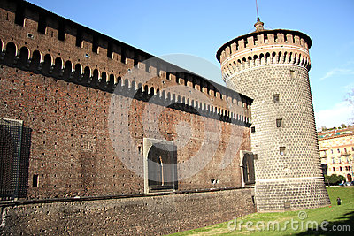 Sforza Castle in Milan, Italy Editorial Photography