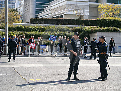 SFPD stand in street during Protest Editorial Image