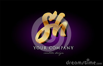 Sh S H 3d Gold Golden Alphabet Letter Metal Logo Icon Design H