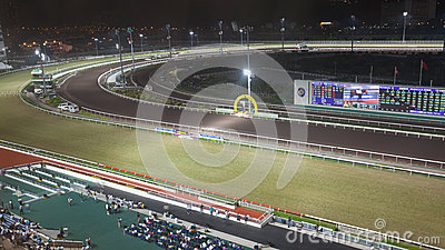 Sha Tin Racecourse at night Editorial Photo
