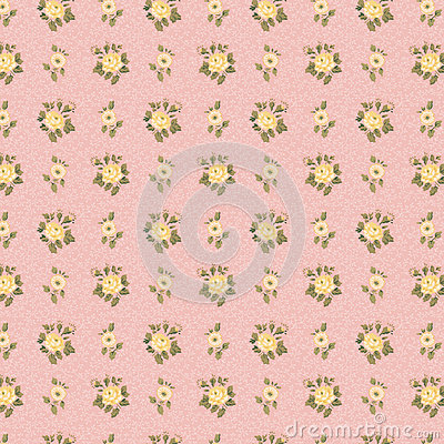 Shabby chic antique wallpaper pink and yellow rose