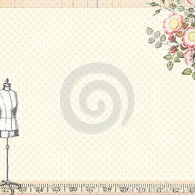 Shabby Chic Sewing Craft Background with Body Form