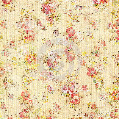 Free Shabby Chic Vintage Antique Rose Floral Wallpaper Royalty Free Stock Photography - 24855877