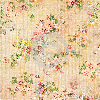 Shabby Chic Vintage Antique Rose Floral Wallpaper