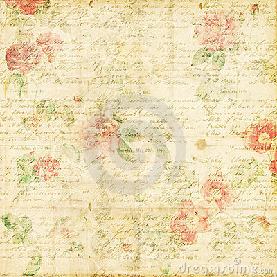 Free Shabby Chic Vintage Rose Floral Grungy Background Royalty Free Stock Images - 23163039