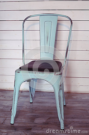 Free Shabby Chick Styled Chair On The White Board Wall Royalty Free Stock Images - 53345879
