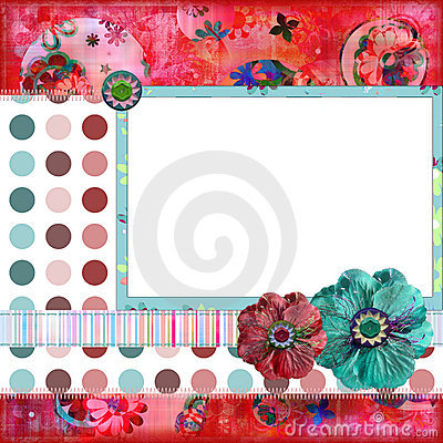 Shabby Floral Photo Frame or Scrapbook Background