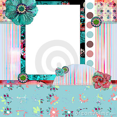 Shabby Floral Photo Frame/Scrapbooking Background