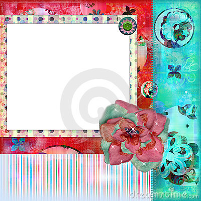 Shabby Floral Photo Frame or Scrapbooking Background