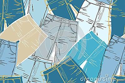 Shabby jeans seamless