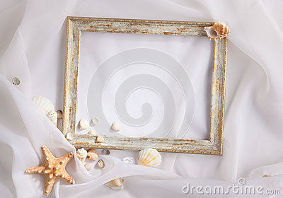 Shabby picture frame and shells