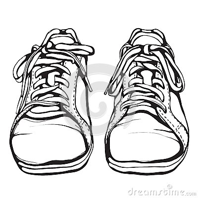 Tennis Shoe Outline Template Shabby-running-shoes-black-ink ...