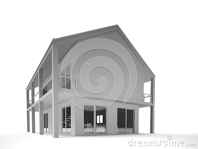 Shaded of modern two storey house – only house