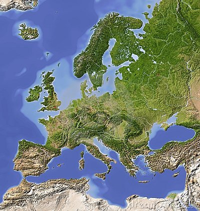 Shaded relief map of Europe