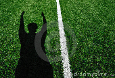 Shadow of American Football Referee Touchdown