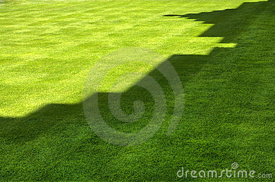 Shadow of castle on grass