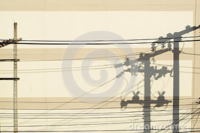 Shadow of electric post