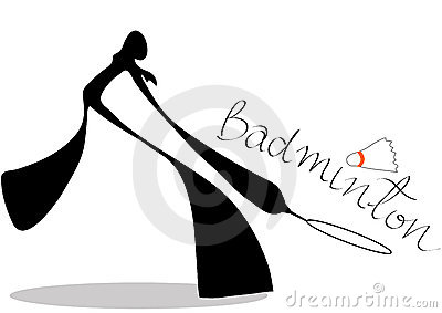 Shadow man badminton cartoon