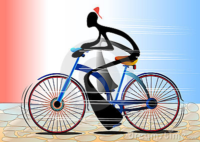 Shadow man cartoon riding bicycle
