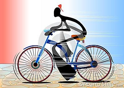 Shadow man cartoon riding bicycle