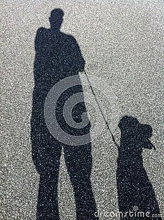 Shadow of Man and Dog Walking
