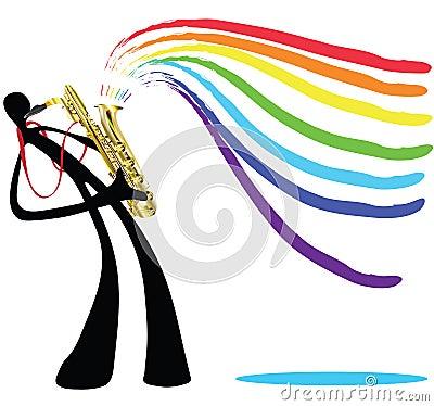 Shadow man and saxophone