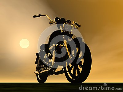 Motobike sunset - 3D render