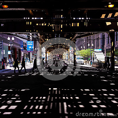 Free Shadow Pattern Under Elevated Train Tracks Stock Photo - 44269030