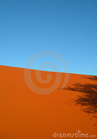 Shadow on red arid sand dunes