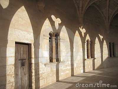 Shadows in the castle cloister