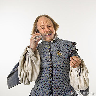 Shakespeare talking on phone.