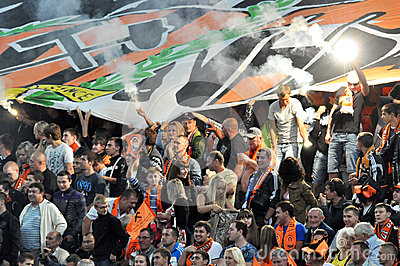 Shakhtar fans lit fireworks on the sector Editorial Stock Image