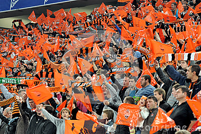 Shakhtar fans in the stands Editorial Stock Image