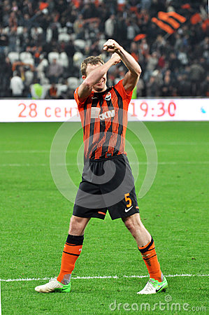 Shakhtar player shows the symbol of team Editorial Image