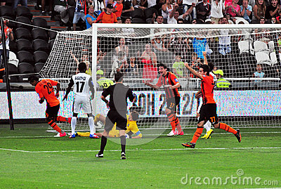 Shakhtar players celebrate scoring a goal Editorial Stock Image