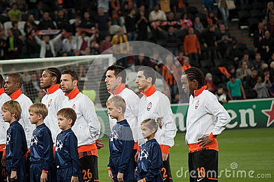 Shakhtar players during opening ceremony Editorial Image