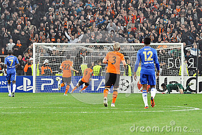 Shakhtar team makes the second goal Editorial Photo
